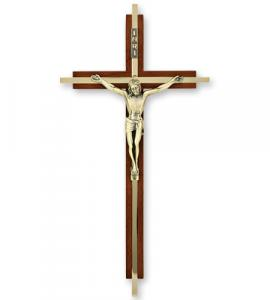 10 in Walnut & Brass Inlay Cross with Antique Gold Corpus