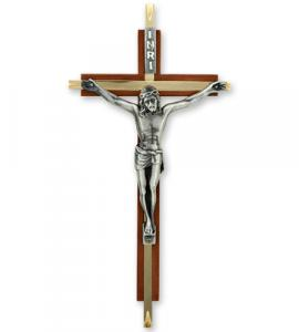 7 in Walnut & Brass Inlay Cross  with Antique Silver Corpus