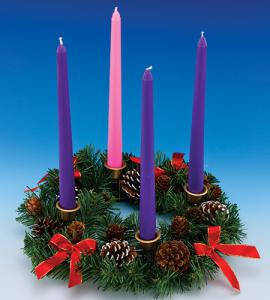 11in Advent Wreath with Red Ribbon