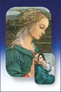 2 in x 3 in Two Dimensional Ferruzzi Madonna Holy Card
