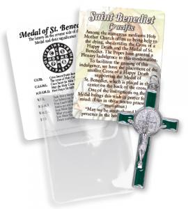 2 in Green Saint Benedict Cross with pouch