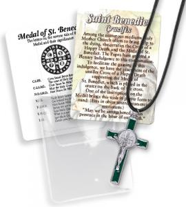 2 in Green Saint Benedict Cross on Cord Pouched