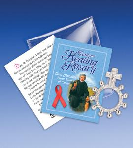 Saint Peregrine Cancer Healing Rosary Ring Packet