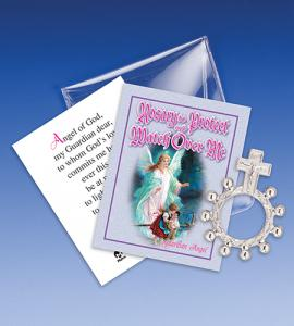 Guardian Angel Watch Over Me Rosary Ring Packet