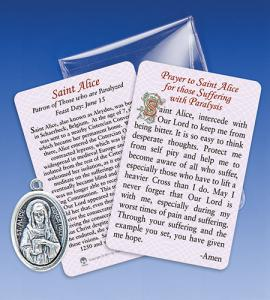Saint Alice/Paralysis Healing Medal Wiht Prayer Card