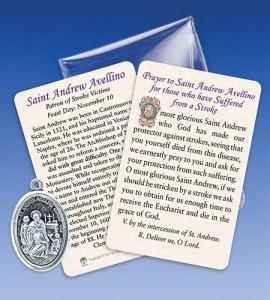 Saint Andrew Avellino/Stroke Healing Medal with Prayer Card
