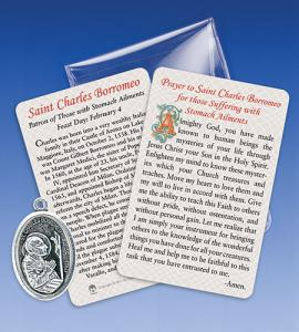 Saint Charles Borremeo/Stomach Ailments Healing Medal with Prayer Ca