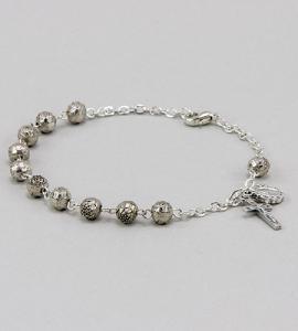 6 mm Silver Rosebud Bracelet