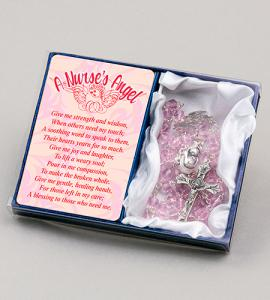 A Nurse's Angel Rosary With Prayer Card