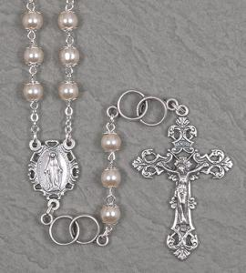 7mm DOUBLE CAPPED PEARL WEDDING ROSARY WITH DOUBLE RING OUR FATHER BEADS