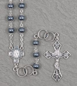 7mm DOUBLE CAPPED HEMATITE WEDDING ROSARY WITH DOUBLE RING OUR FATHER BEADS