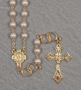 7mm DOUBLE CAPPED PEARL WEDDING ROSARY WITH DOUBLE RING OUR FATHER BEADS GOLD