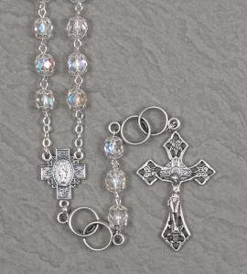 7mm CRYSTAL WEDDING ROSARY WITH DOUBLE RING OUR FATHER BEADS