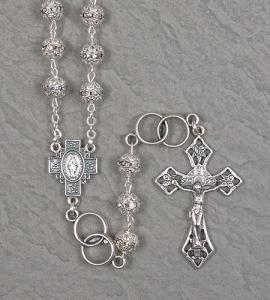 7mm MARCASITE WEDDING ROSARY WITH DOUBLE RING OUR FATHER BEADS