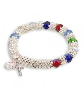 8X6mm MULTICOLOR BRACELET WITH SILVER SPACERS
