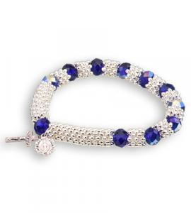8X6mm BLUE BRACELET WITH SILVER SPACERS