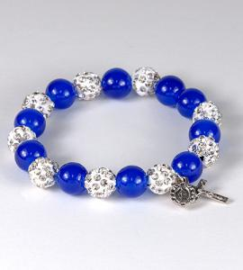 10mm DARK BLUE GLASS BRACELET WITH MARCASITE OUR FATHER BEADS