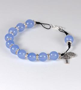10mm BLUE BRACELET WITH STONE SPACER & CLASP