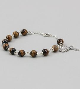6 mm Round Gemstone Tigers Eye Rosary Bracelet