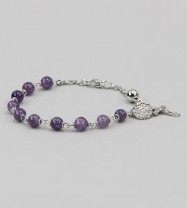 6 mm Round Gemstone AmethySaint Bracelet
