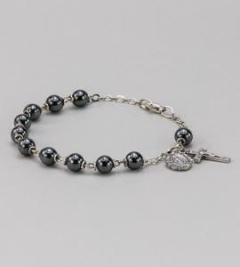 6 mm Round Gemstone Hematite Rosary Bracelet