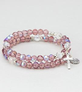 6 mm AmethySaint Rosary Spring Bracelet