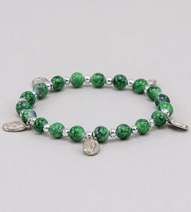 7mm Emerald Stretch Rosary Bracelet with Our Lady of Guadalupe Medals