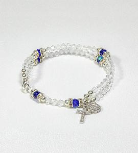 59 BEAD CRYSTAL RONDELL ROSARY BRACELET