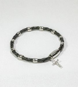 BLACK LEATHERETTE with SILVER BEAD ROSARY BRACELET