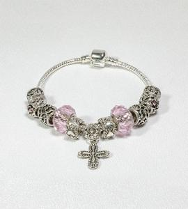 SILVER BEADS WITH PINK ROSARY BRACELET