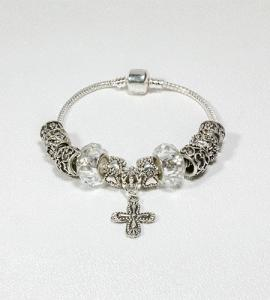 SILVER BEADS WITH CRYSTAL ROSARY BRACELET