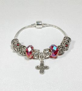 SILVER BEADS WITH RUBY ROSARY BRACELET