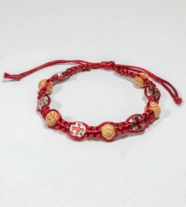 CARVED WOOD BEAD & CROSS RED BRAIDED ROSARY BRACELET
