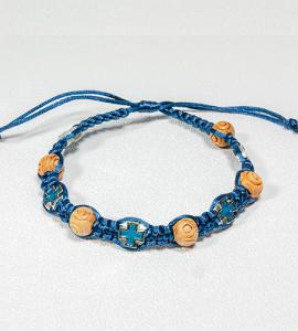 CARVED WOOD BEAD & CROSS BLUE BRAIDED ROSARY BRACELET