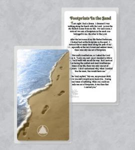 RECOVERY FOOTPRINTS LAMINATED PRAYER CARD