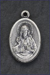 OVAL OXIDIZED MEDAL SACRED HEART OF JESUS
