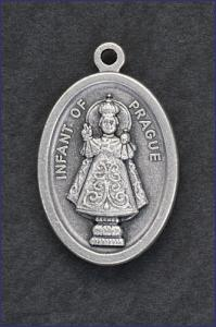 OVAL OXIDIZED MEDAL INFANT OF PRAGUE