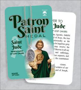 St Jude Medal & 24in Chain With Prayer Card