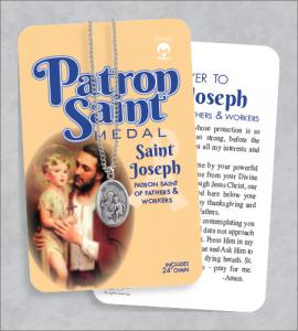 St Joseph Medal & 24in Chain With Prayer Card