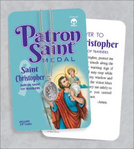 St Christopher Medal & 24in Chain with Prayer Card