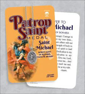 St Michael Medal & 24in Chain With Prayer Card