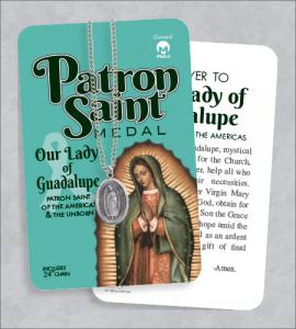 Our Lady of Guadalupe Medal & 24in Chain With Prayer Card