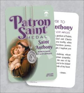 St Anthony Medal & 24in Chain With Prayer Card