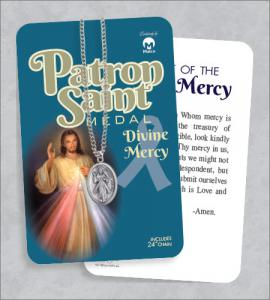Divine Mercy Medal & 24in Chain With Prayer Card