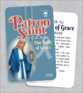Our Lady Of Grace Medal & 24in Chain with Prayer Card