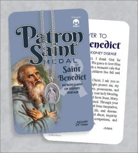 St Benedict Medal & 24in Chain With Prayer Card