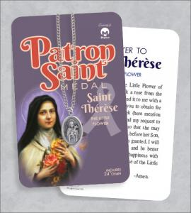 St Therese Medal & 24in Chain With Prayer Card