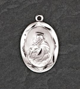 Sterling Silver Oval Saint Anthony Medal on 24 in Chain