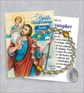 St Christopher Bracelet with Prayer Card