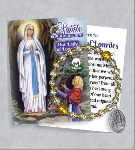 Our Lady of Lourdes Bracelet with Prayer Card